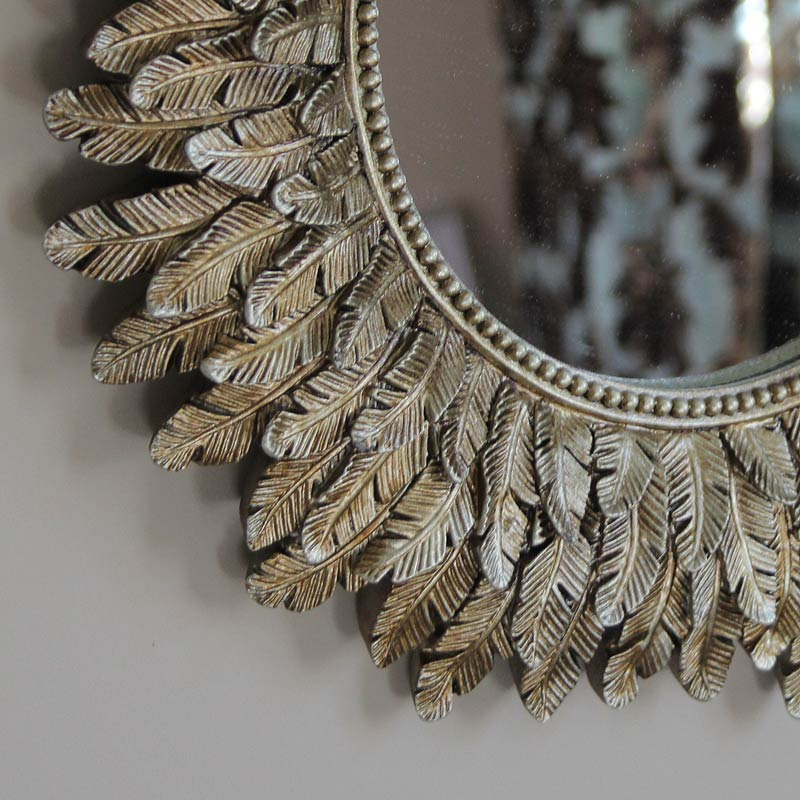 Antique Gold Feather Effect Wall Mirror Flora Furniture