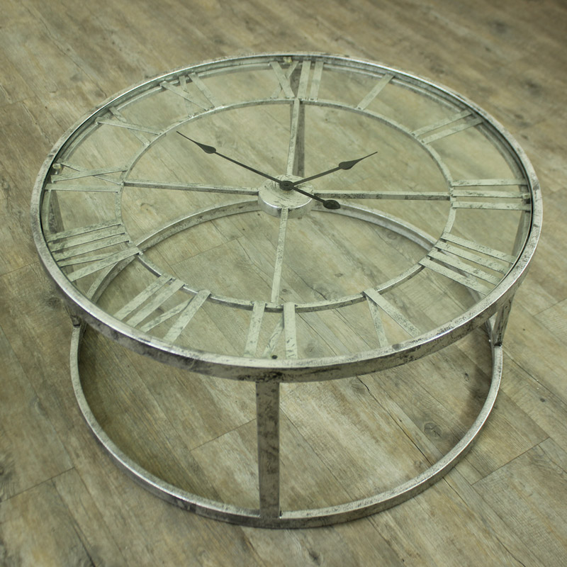 High Quality Large Round Silver Skeleton Clock Table