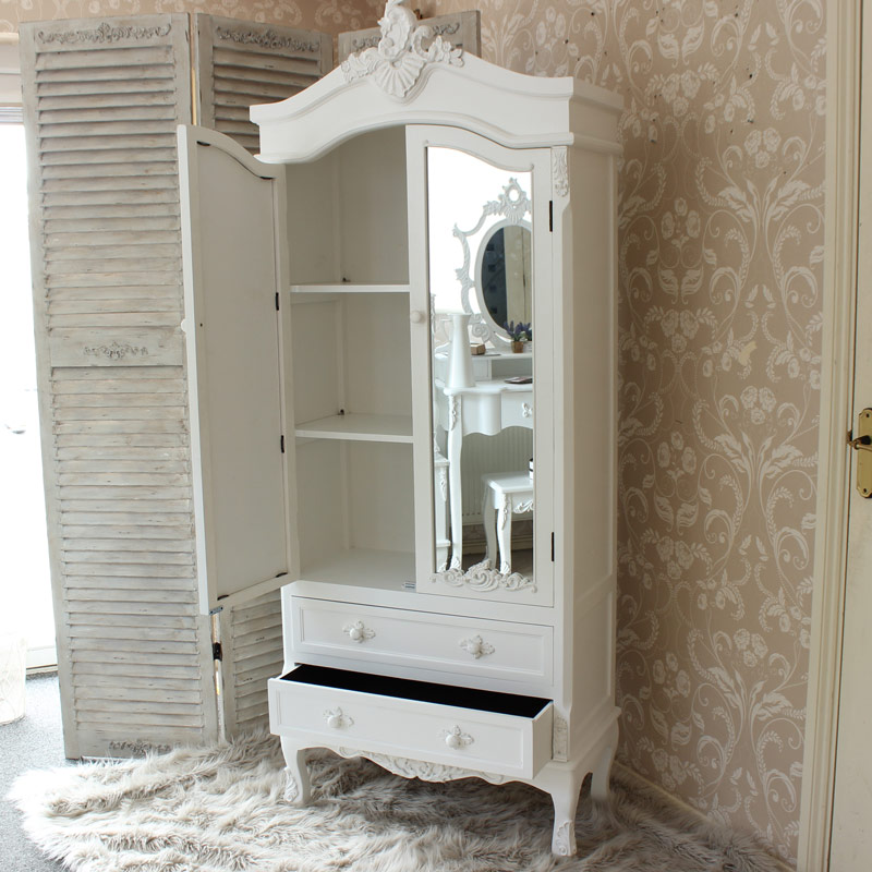 Pays Blanc Range Antique White Mirrored Closet Flora