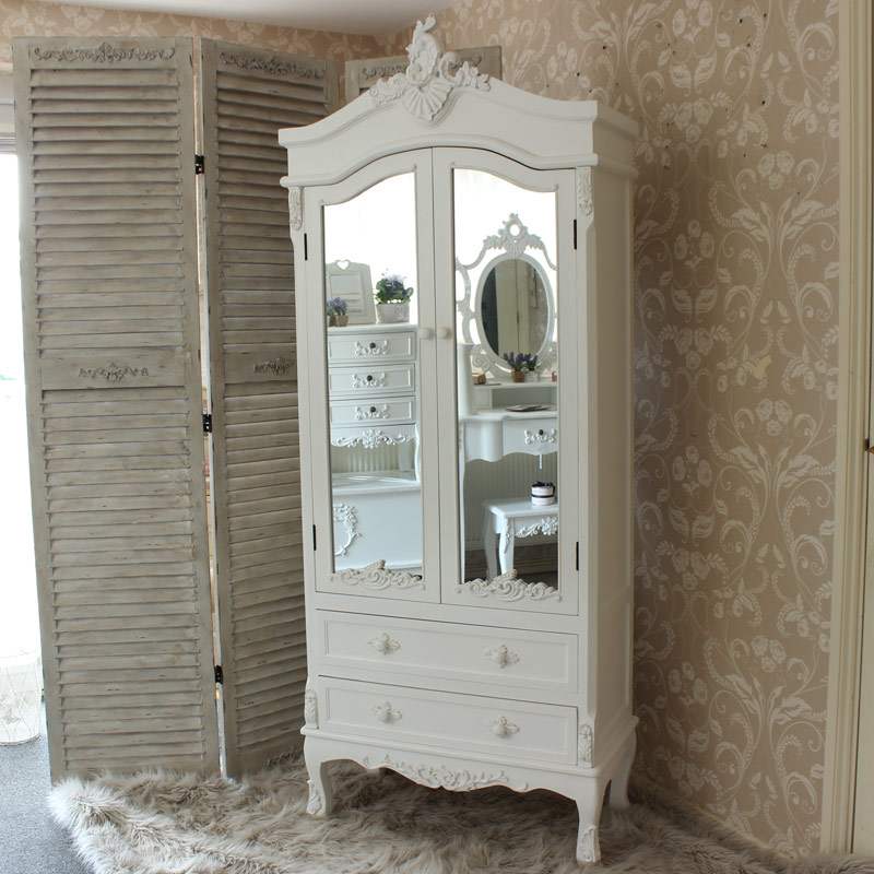 Pays Blanc Range Antique White Mirrored Closet Flora