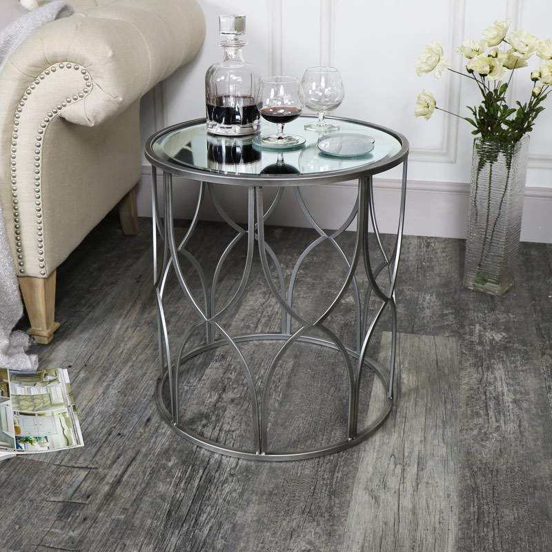 Small Ornate Silver Mirrored Side Table Flora Furniture