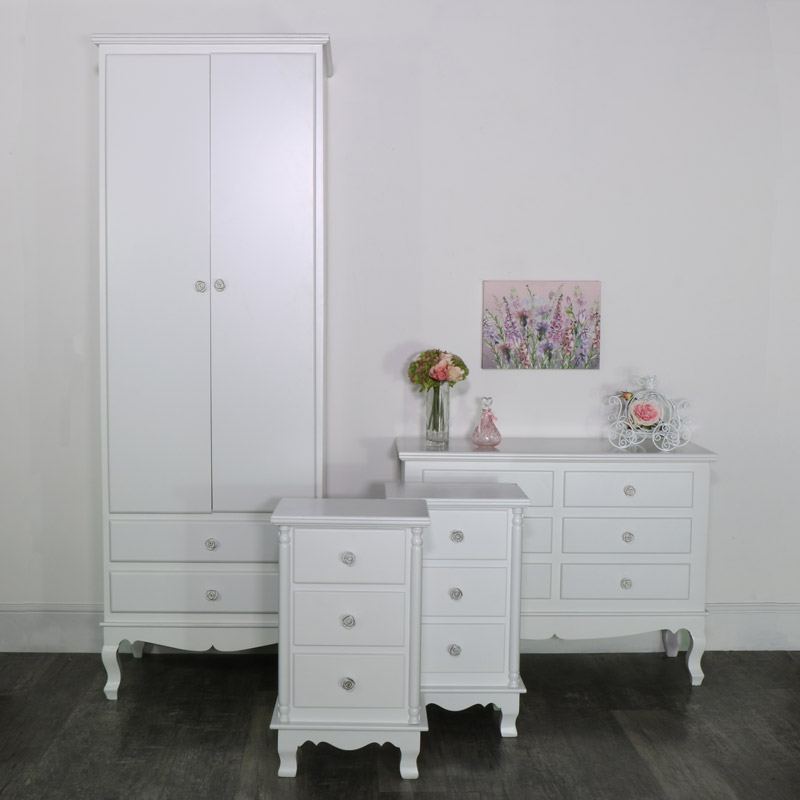 White Bedroom Set, Wardrobe, Chest of Drawers and a Pair of Bedside Chests - Lila Range