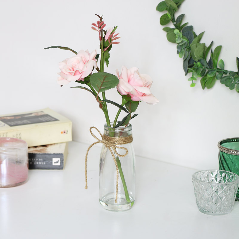 Faux Pale Pink Rose in Glass Jar
