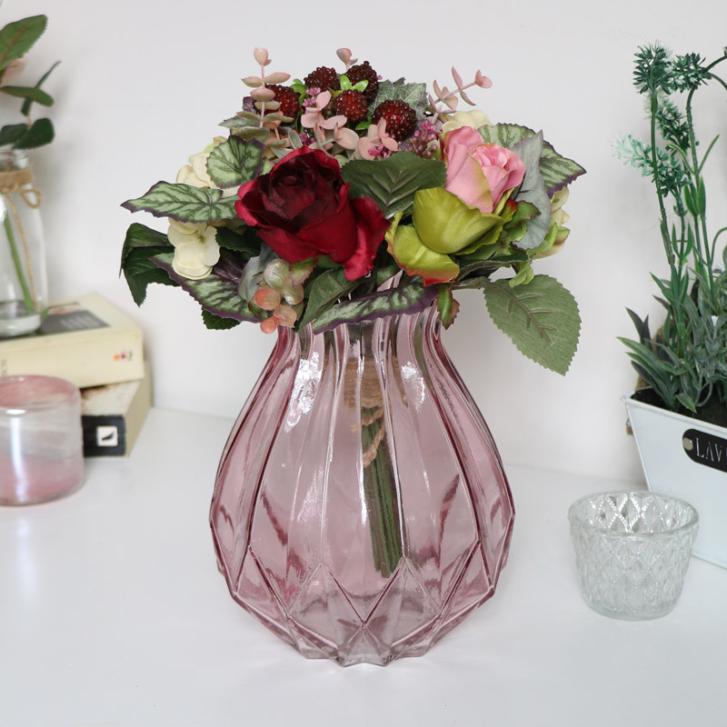 Pink Cut Glass Vase