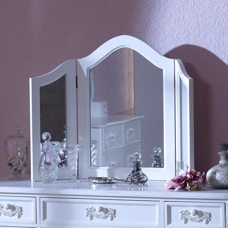 Antique White Triple Dressing Table Mirror - Pays Blanc Range