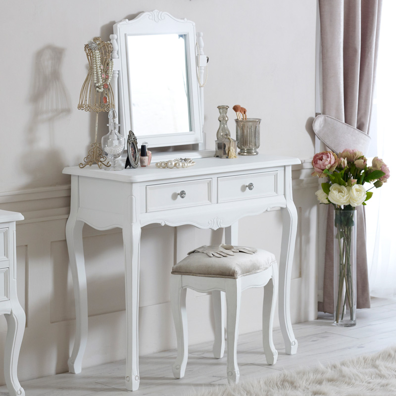 Elise White Range Dressing Table Mirror And Stool Flora Furniture