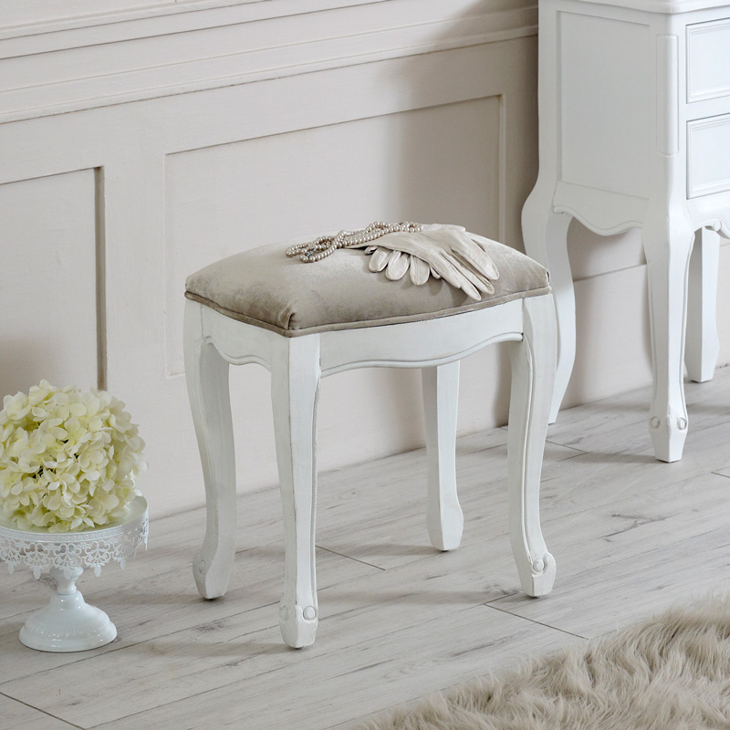 Elise White Range - Dressing Table Stool