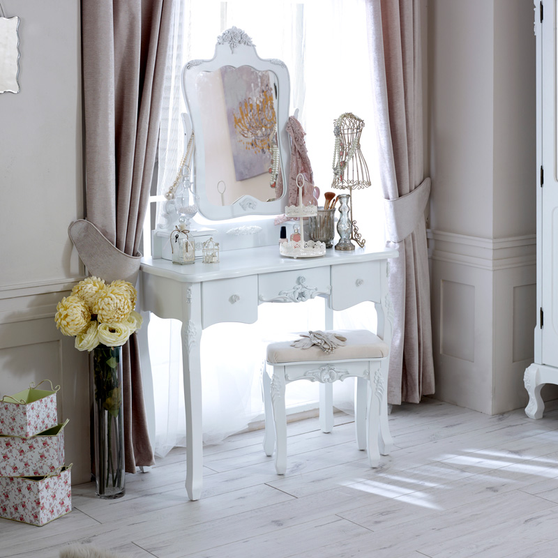 Rose Range - White Dressing Table and Mirror & Stool