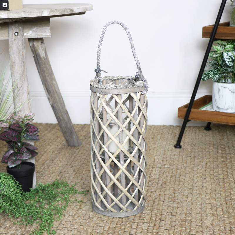 Tall Wicker Candle Lantern