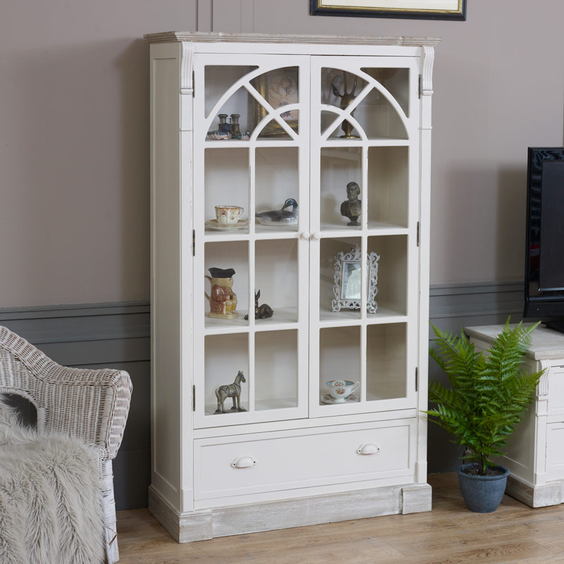 Lyon Range - Cream Glazed Display Cabinet