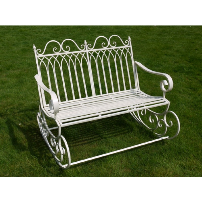 Antique White Garden Rocking Bench