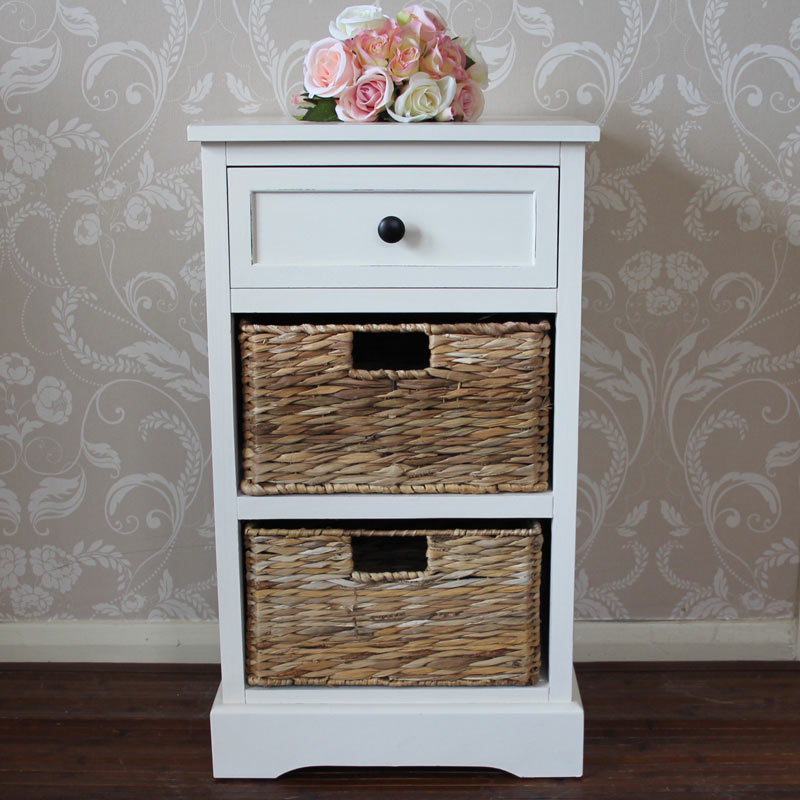 Chateau Range - Ivory Wicker Storage Unit - One Drawer/Two Baskets