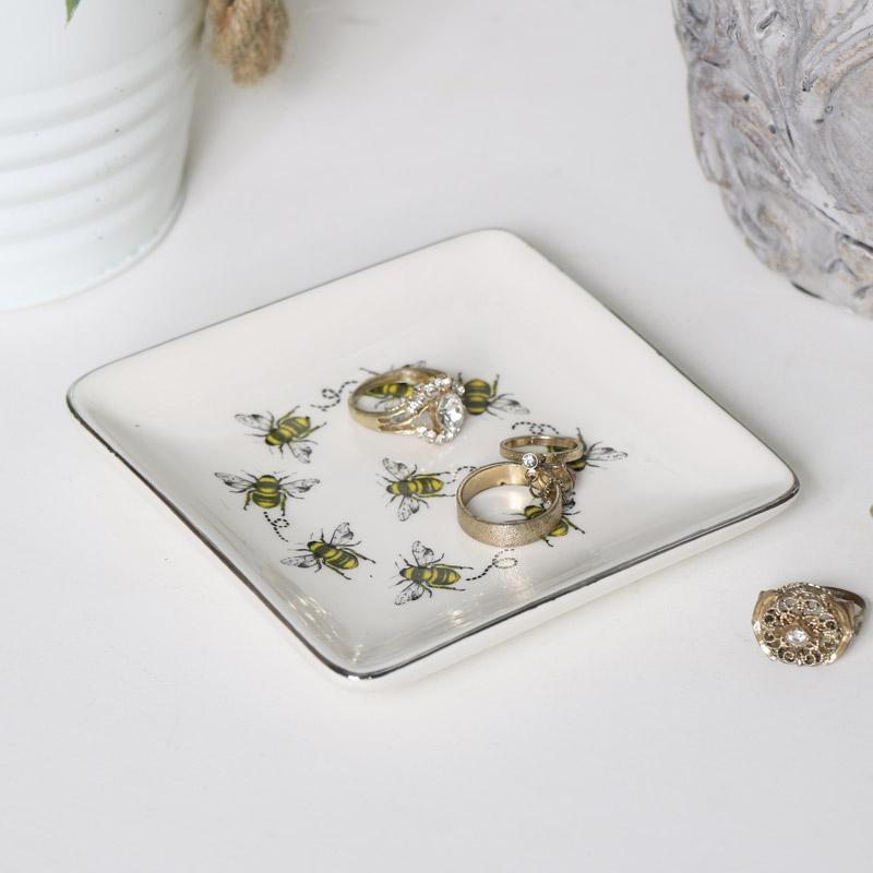 White Ceramic Bee Dish