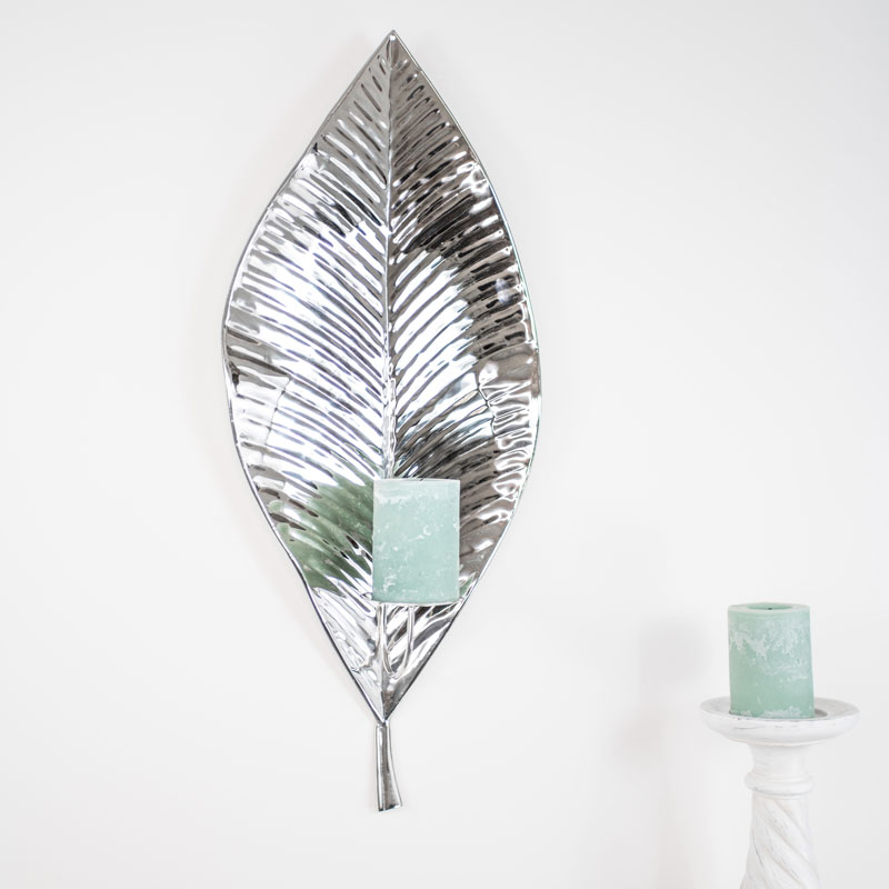 Large Metal Silver Leaf Candle Sconce