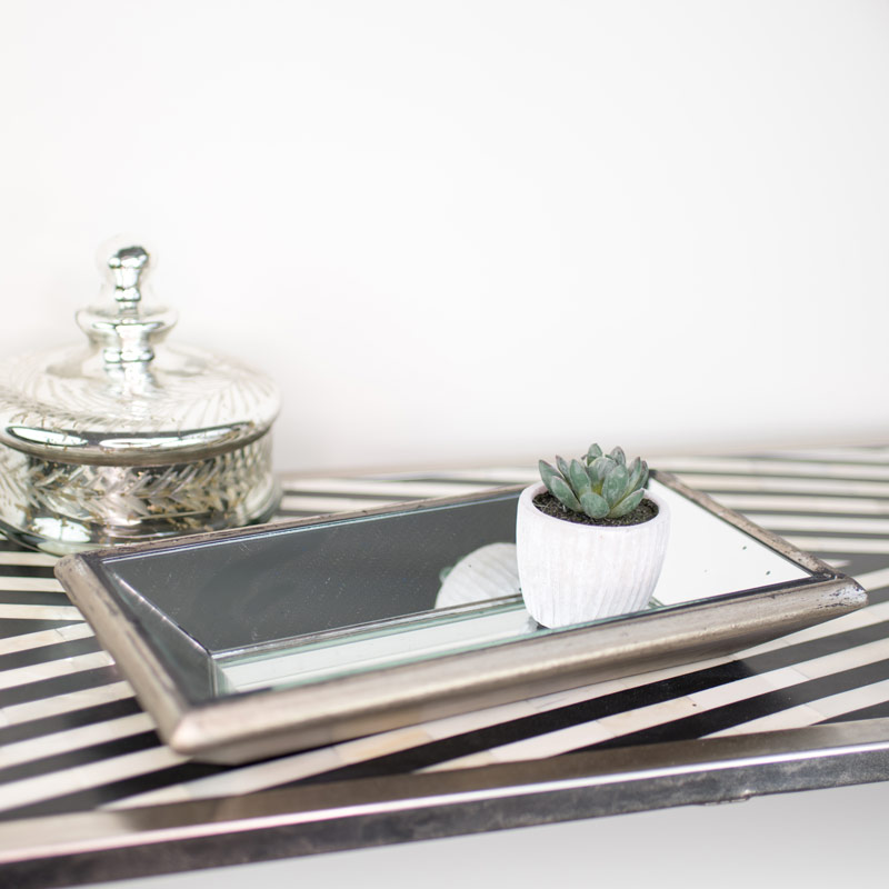 Astor Distressed Wooden Mirrored Tray