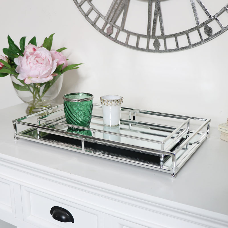 Set of Two Silver Mirrored Trays