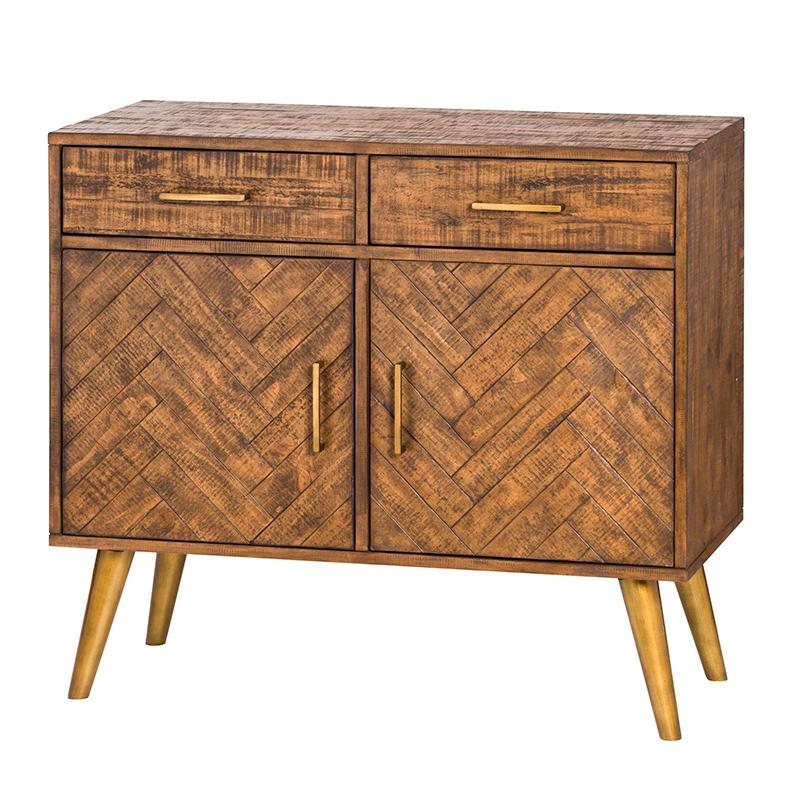 Wood & Gold 2 Door 2 Drawer Sideboard