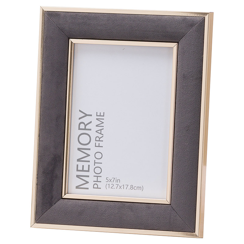 Large Grey Velvet & Gold Photo Frame