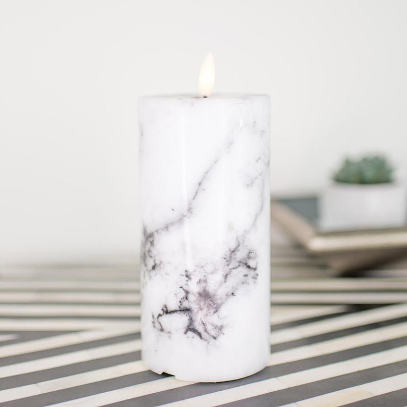 Medium LED Marble Candle