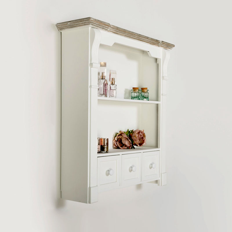 White Wall Shelf Unit with Drawers - Daventry White Range