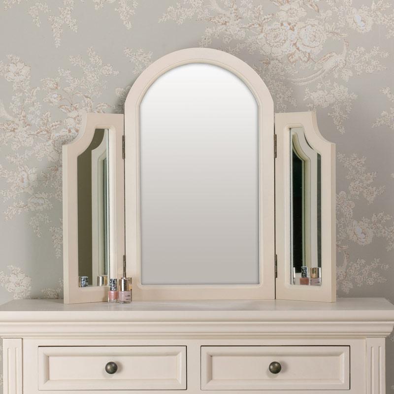 Tabletop Triple Vanity Mirror - Daventry Cream Range