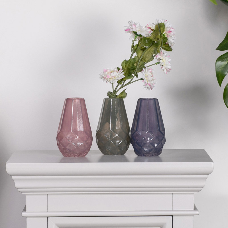 Pink, Grey & Purple Glass Bud Vase Set