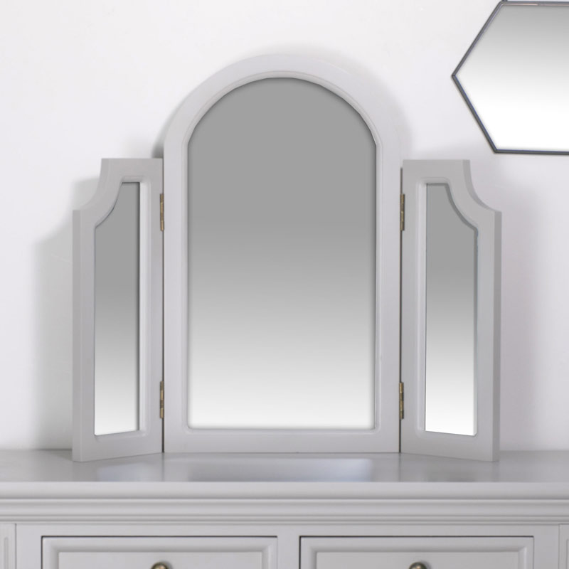Tabletop Triple Vanity Mirror - Daventry Dove-Grey Range