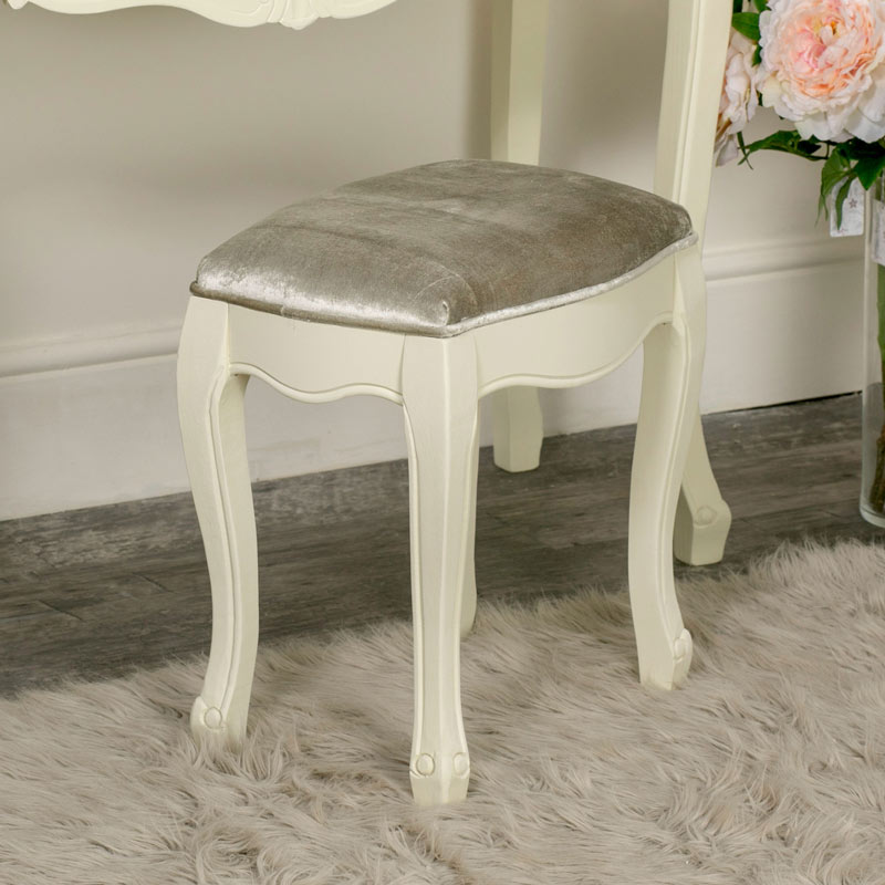 Cream Painted Dressing Table Stool - Elise Cream Range