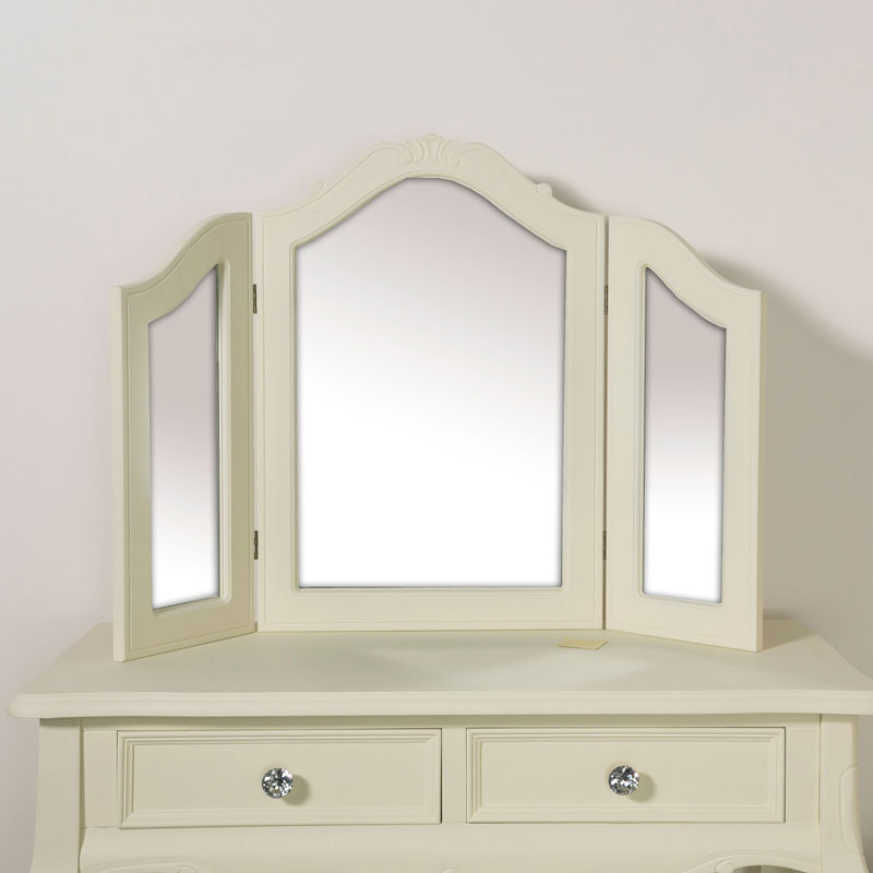 Triple Style Dressing Table Mirror - Elise Cream Range