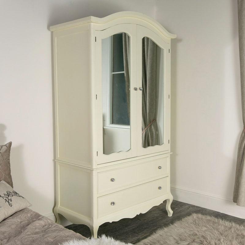 Large Ornate Cream Double Wardrobe Armoire - Elise Cream Range