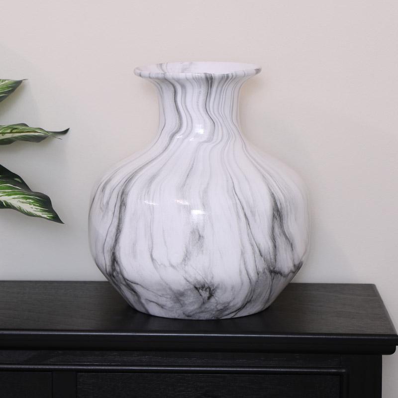 Grey & White Marble Vase