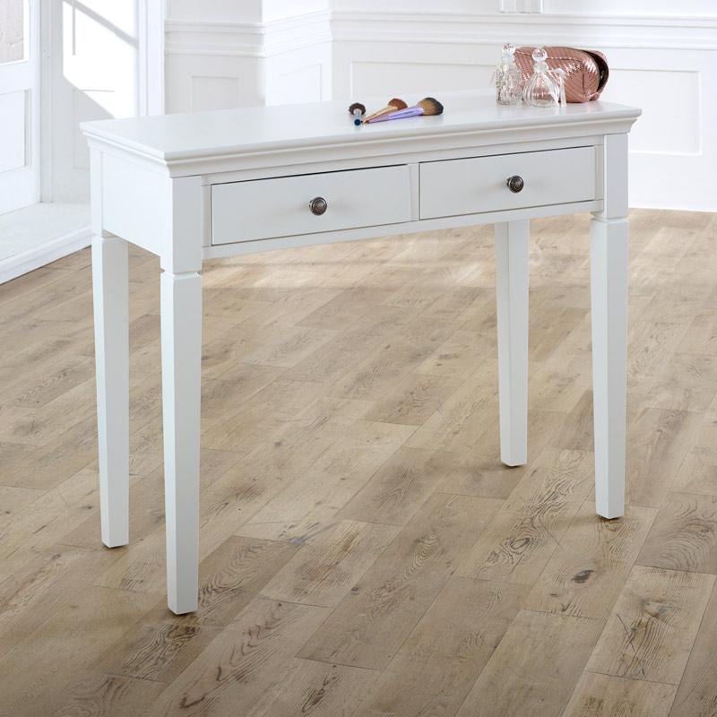 White 2 Drawer Console / Dressing Table - Newbury White Range