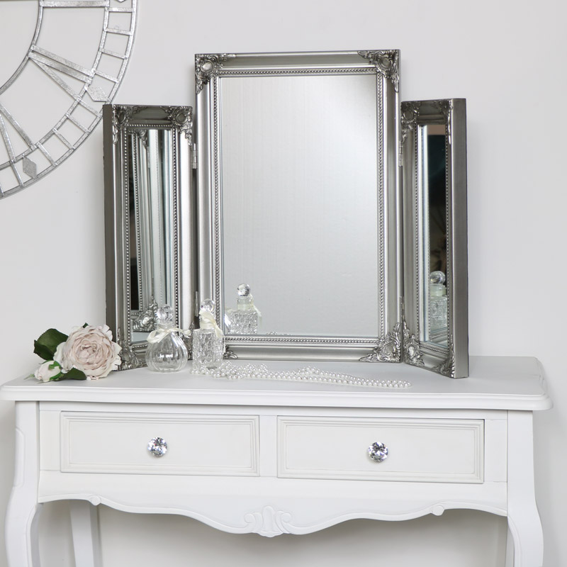 Ornate Vintage Silver Triple Dressing Table Mirror  55cm x 74cm