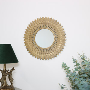 Large Round Gold Feathered Wall Mirror