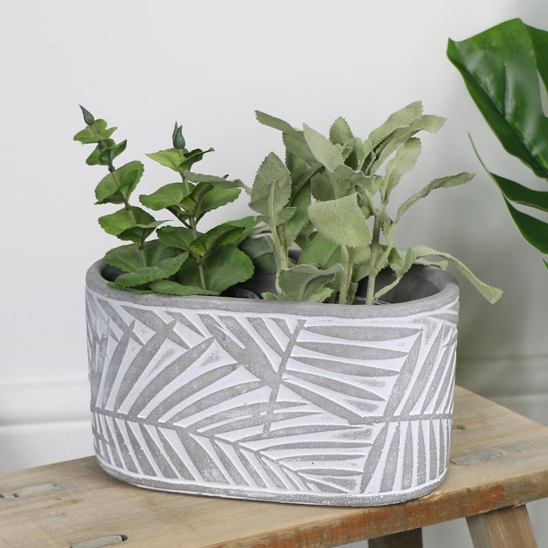 Grey & White Leaf Print Planter Pot
