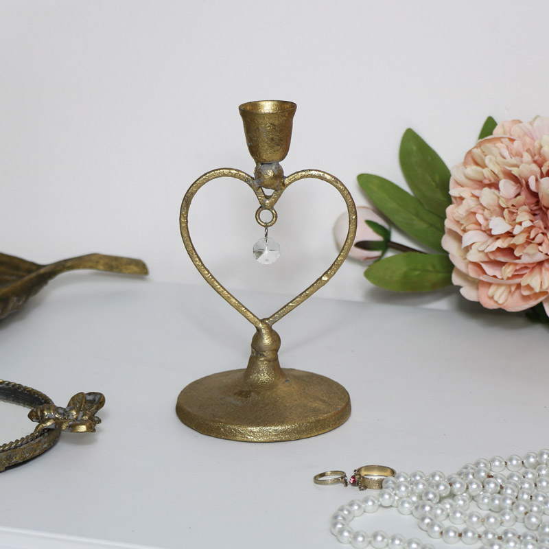 Gold Heart Shaped Candle Holder