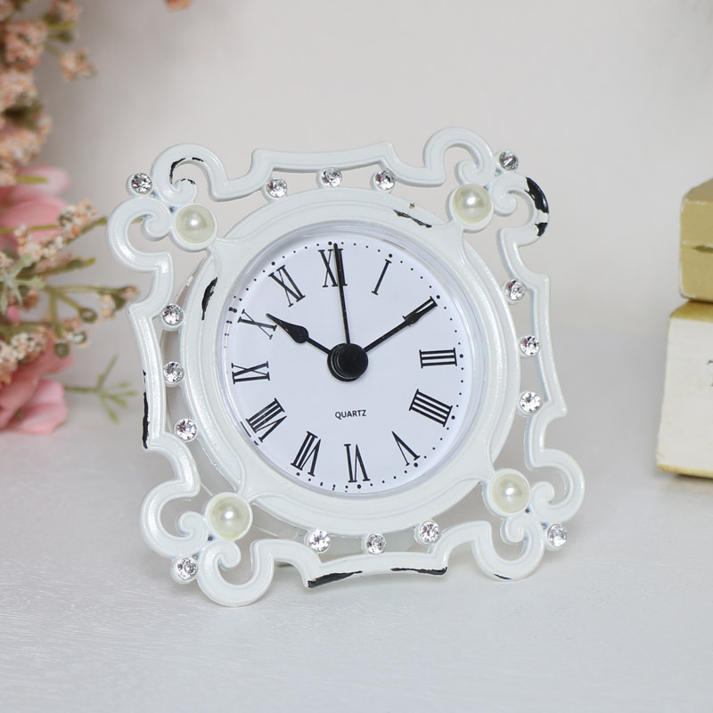 Small Vintage White Mantle Clock