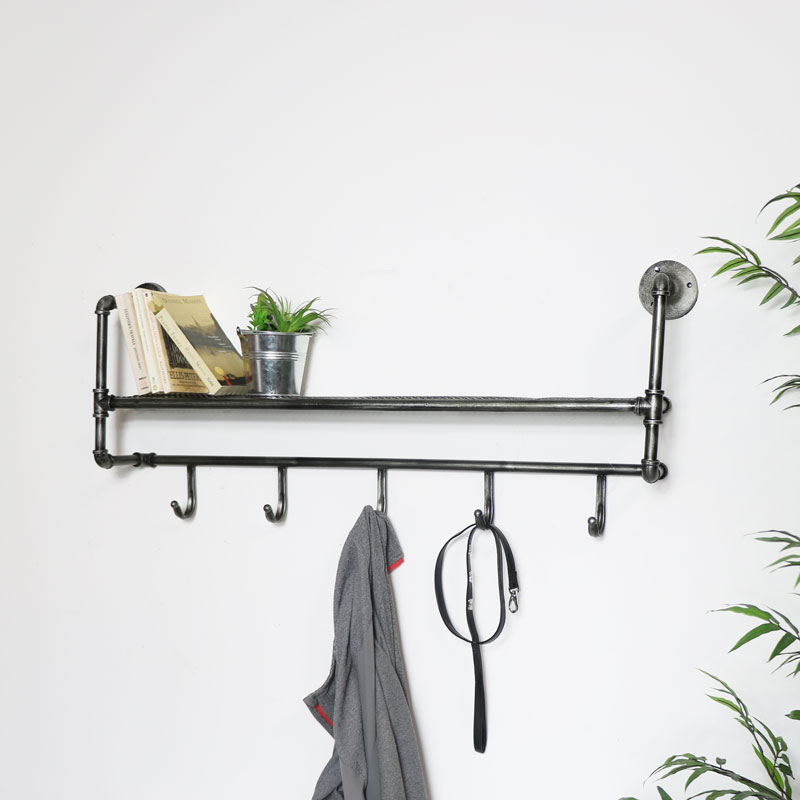 Industrial Wall Shelf with Hooks
