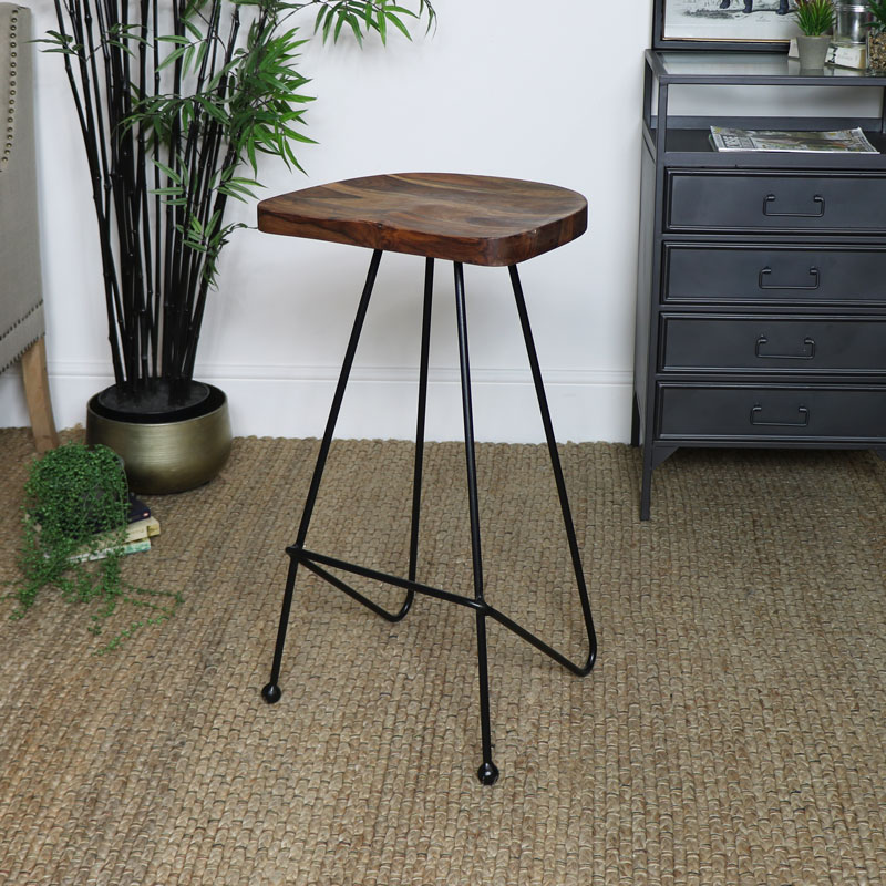 Industrial Wooden Bar Stool