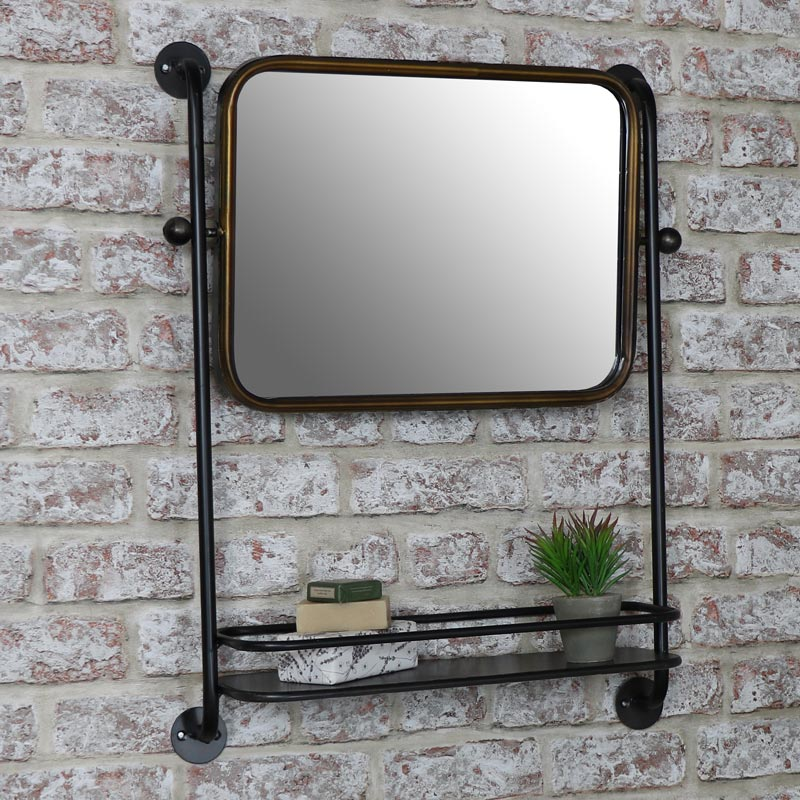 Industrial Mirror with Shelf