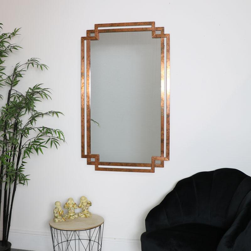 Copper Art Deco Distressed Mirror
