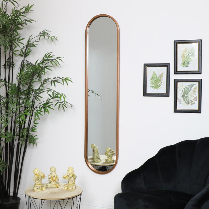 Tall Slim Gold Oval Mirror
