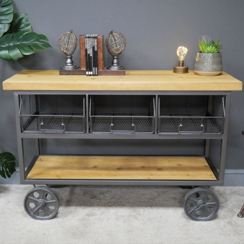 Large Industrial Trolley Style Console Storage