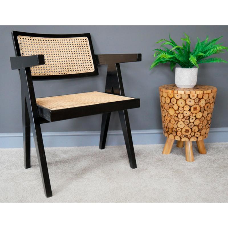Black Wood & Cane Chair