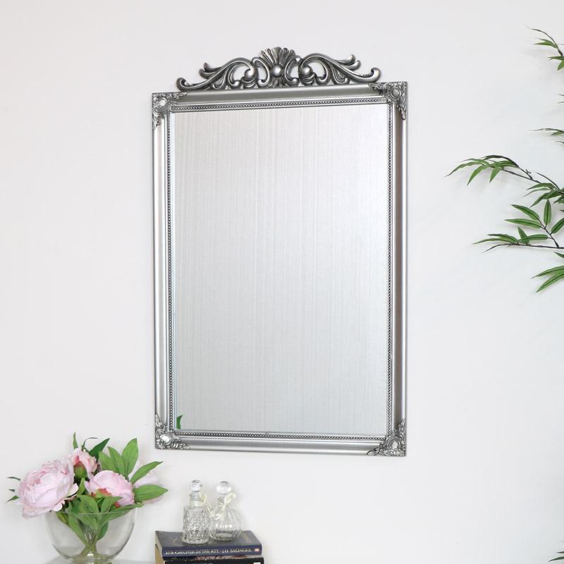 Ornate Vintage Silver Wall Mirror 52cm x 82cm