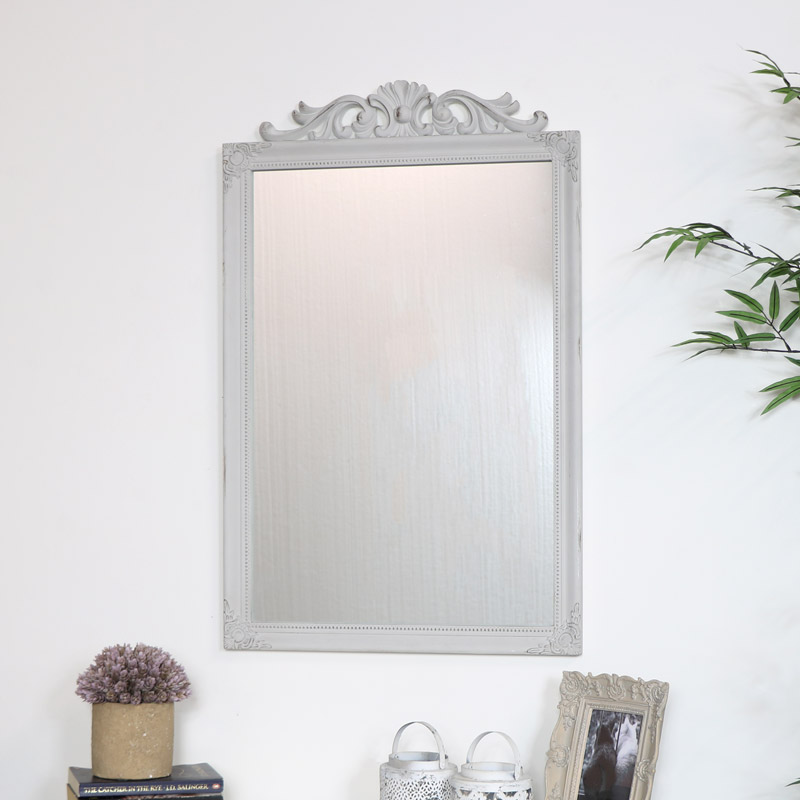 Ornate Vintage Taupe Wall Mirror 52cm x 82cm
