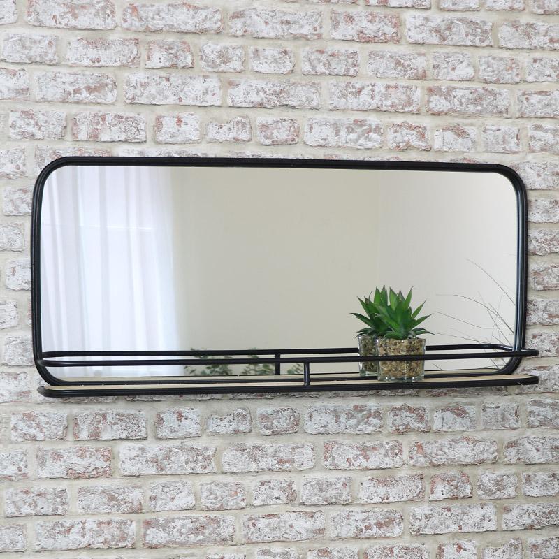 Black Metal Mirror with Shelf 93cm x 42cm