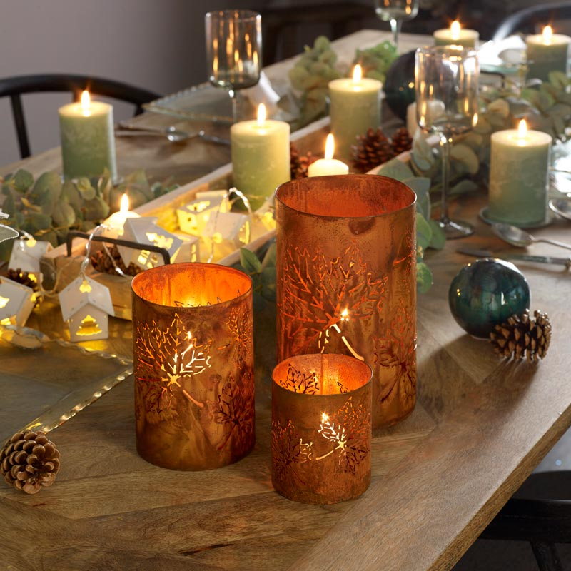 Set of 3 Rusted Metal Leaf Candle Lanterns