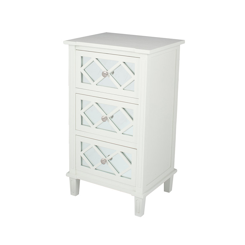 White Mirrored 3 Drawer Bedside