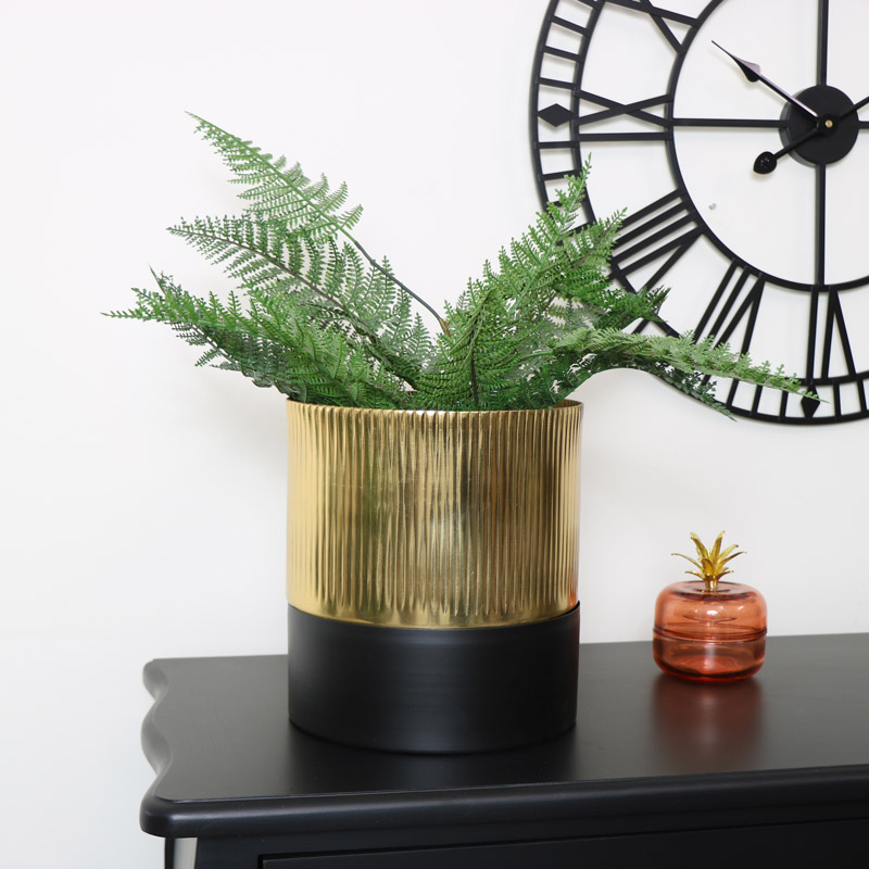 Medium Black & Gold Planter